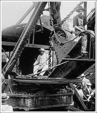 Teddy Roosevelt on Steam Shovel Crane
