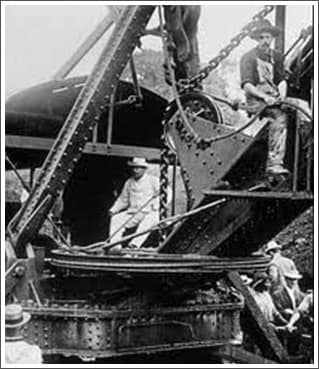 Teddy Roosevelt on Steam Shovel Crane